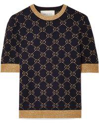 Gucci - Metallic Cotton-blend Jacquard Jumper - Lyst