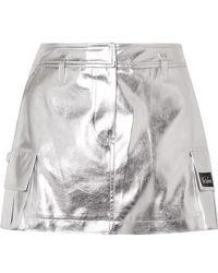 we11done - Appliquéd Metallic Faux Leather Mini Skirt - Lyst