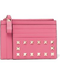 Valentino - Rockstud Textured-leather Wallet - Lyst