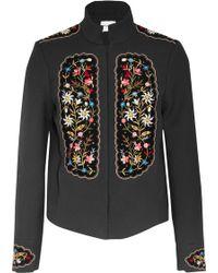 Vilshenko | Misha Embroidered Velvet-paneled Gabardine Jacket | Lyst