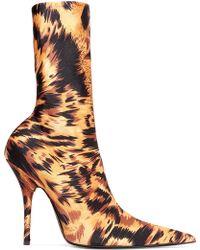 Balenciaga - Knife Leopard-print Spandex Sock Boots - Lyst