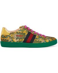 Gucci - Ace Metallic Leather-trimmed Brocade Trainers - Lyst