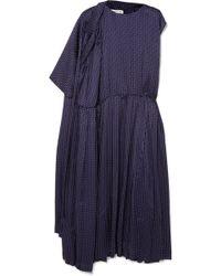 Balenciaga - Asymmetric Polka-dot Silk-jacquard Midi Dress - Lyst