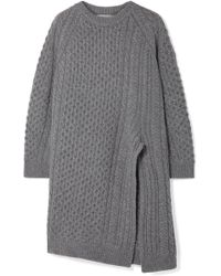Stella McCartney - Oversized Asymmetric Cable-knit Wool And Alpaca-blend Sweater - Lyst