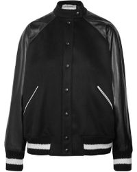 Valentino - Leather And Appliquéd Wool-blend Bomber Jacket - Lyst