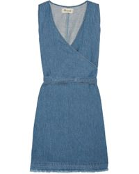 Madewell - Frayed Cotton And Linen-blend Wrap Mini Dress - Lyst