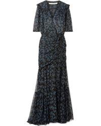 Veronica Beard - Mick Ruched Silk Crepe De Chine And Chiffon Maxi Dress - Lyst