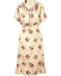 Golden Goose Deluxe Brand - Vanilla Belted Floral-print Satin Midi Dress - Lyst