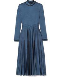 Bottega Veneta   Swarovski Crystal-embellished Pleated Satin Dress   Lyst