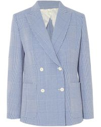 Max Mara - Double-breasted Prince Of Wales Checked Wool Blazer - Lyst