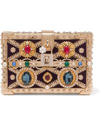 Dolce & Gabbana - Dolce Box Embellished Metallic Patent-leather And Velvet Clutch - Lyst