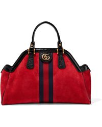Gucci - Re(belle) Small Patent Leather-trimmed Suede Tote - Lyst