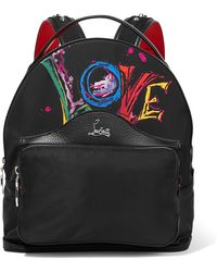 Christian Louboutin - Backloubi Studded Textured Leather-trimmed Printed Shell Backpack - Lyst