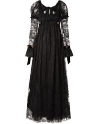 Philosophy Di Lorenzo Serafini - Tie-back Velvet-trimmed Lace Gown - Lyst