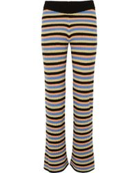 The Elder Statesman - Striped Cashmere Flared Pants - Lyst