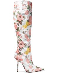 Vetements - Floral-print Leather Knee Boots - Lyst