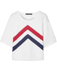 Perfect Moment - Cropped Printed Cotton-jersey T-shirt - Lyst