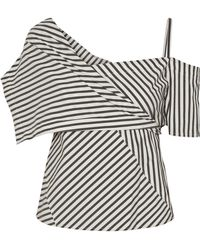 Theory - Striped Stretch Cotton-blend Top - Lyst