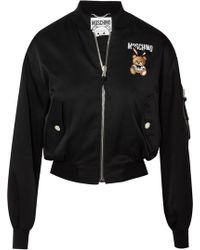 Moschino - Embroidered Satin Bomber Jacket - Lyst