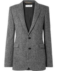 Saint Laurent - Herringbone Wool Blazer - Lyst