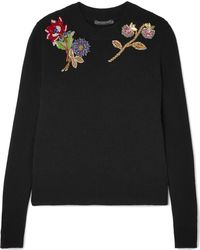 Alexander McQueen - Embellished Embroidered Wool Sweater - Lyst