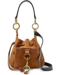 See By Chloé Tony Small Textured-leather And Suede Bucket Bag - Brown