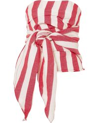 Marques'Almeida - Tie-front Striped Cotton And Linen-blend Wrap Bustier Top - Lyst