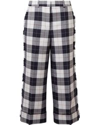 Thom Browne - Cropped Frayed Checked Wool-blend Pants - Lyst