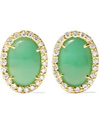 Kimberly Mcdonald - 18-karat Gray Gold, Turquoise And Diamond Earrings Gold One Size - Lyst