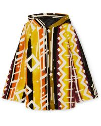 Burberry - Hooded Printed Shearling Poncho - Lyst