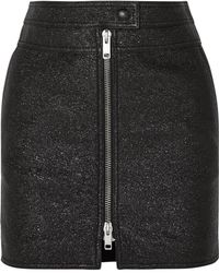 Givenchy - Metallic Textured-leather Mini Skirt - Lyst