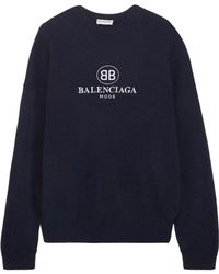 Balenciaga - Embroidered Stretch Wool And Cashmere-blend Sweater - Lyst