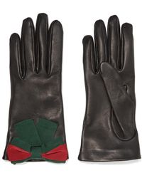Gucci - Bow-embellished Textured-leather Gloves - Lyst