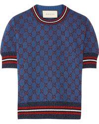 Gucci - Metallic Jacquard-knit Sweater - Lyst