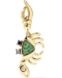 Yvonne Léon - 18-karat Gold, Diamond And Tsavorite Earring - Lyst