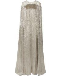 Oscar de la Renta - Cape-effect Fringed Embellished Tulle And Silk-blend Lamé Gown - Lyst