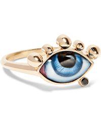 Lito - Tu Es Partout 14-karat Gold, Enamel And Diamond Ring - Lyst