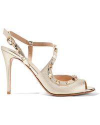 Valentino - Garavani The Rockstud Metallic Textured-leather Sandals - Lyst