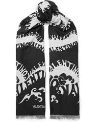 Valentino - Printed Wool, Cashmere And Silk-blend Scarf - Lyst