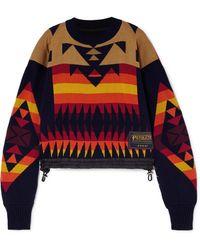 Sacai - Pendleton-patterned Cropped Cotton-blend Jumper - Lyst