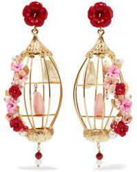 Of Rare Origin - Lovebird 18k Gold Multi-stone Earrings - Lyst