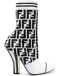 Fendi - Logo-jacquard Stretch-knit And Mesh Sock Boots - Lyst