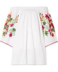 Sensi Studio - Off-the-shoulder Embroidered Crinkled-cotton Mini Dress - Lyst