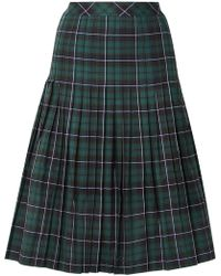Sandy Liang - Checked Pleated Cotton-canvas Midi Skirt - Lyst