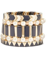 Roxanne Assoulin - Suit Up Set Of Five Gold-tone, Enamel And Faux Pearl Bracelets - Lyst