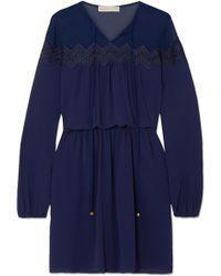 MICHAEL Michael Kors | Guipure Lace-trimmed Chiffon Mini Dress | Lyst