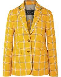 Etro - Velvet-trimmed Checked Wool Blazer - Lyst