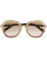 Jimmy Choo - Dree Round-frame Acetate And Gold-tone Sunglasses - Lyst