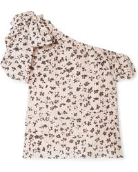 Ulla Johnson - Femi One-shoulder Floral-print Cotton And Silk-blend Gauze Top - Lyst