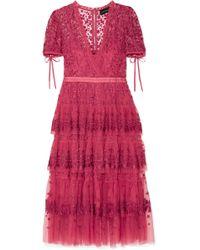 Needle & Thread - Tiered Embroidered Tulle Midi Dress - Lyst